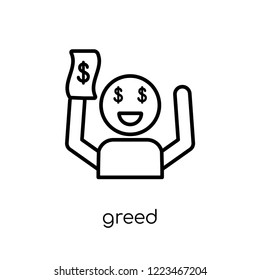 Greed icon. Trendy modern flat linear vector Greed icon on white background from thin line Cryptocurrency economy and finance collection, editable outline stroke vector illustration