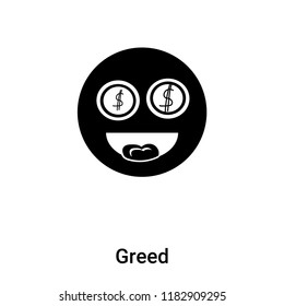 Greed icon vector isolated on white background, logo concept of Greed sign on transparent background, filled black symbol