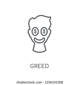 Greed linear icon. Modern outline Greed logo concept on white background from Cryptocurrency economy and finance collection. Suitable for use on web apps, mobile apps and print media.