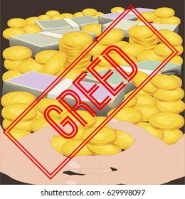 Greed. Seven deadly sins. Bible. Vector illustration