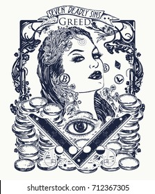 Greed. Seven deadly sins tattoo and t-shirt design. Greedy rich woman, luxury lifestyle, wealthy, millionaire, gold, seven mortal sins. Glamour beautiful woman lady