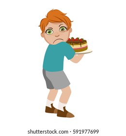 Greedy Boy Not Sharing Cake, Part Of Bad Kids Behavior And Bullies Series Of Vector Illustrations With Characters Being Rude And Offensive
