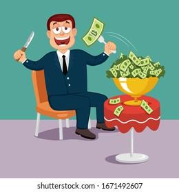 Greedy Businessman Eating Money, illustration vector cartoon