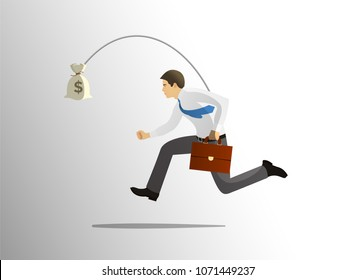 Greedy businessman running after bag of money. Concept of greed, avarice, excess, unwise selfishness. Vector illustration