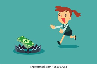 Greedy businesswoman running to money on bear trap