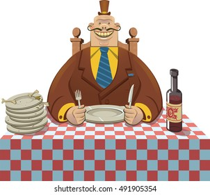 A greedy man has already eaten, but anxiously waits to be served more food