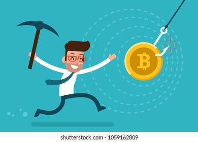 Greedy man running to bit coin trap.