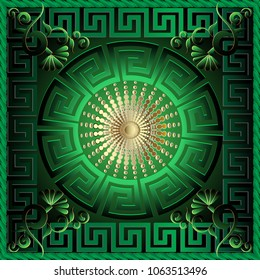 Greek 3d square panel pattern. Floral  green vector background. Meander ornamental frame. Greek key maze border, circle, gold sun, flowers. Round greek mandala ornament. Surface texture. 3d wallpaper