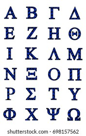 Greek alphabet with blue and black squiggle fill and black border