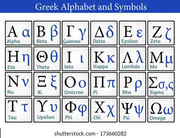 Greek Alphabet and Symbols (Helpful for Education & Schools), vector illustration