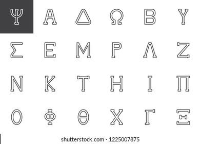 Greek alphabet symbols outline icons set. linear style symbols collection, line signs pack. vector graphics. Set includes icons as Psi letter, Alpha, Delta, Omega, Beta, Sigma, Epsilon, Mu, Lambda, Nu