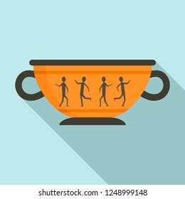 Greek ancient bowl icon. Flat illustration of greek ancient bowl vector icon for web design