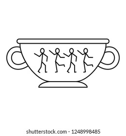 Greek ancient bowl icon. Outline greek ancient bowl vector icon for web design isolated on white background