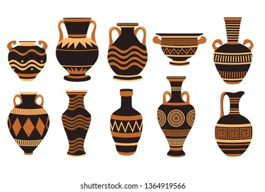 Greek ancient bowls and vases with patterns. Vase ancient greek pottery, amphora and greece. Vector illustration