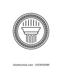 Greek ancient coin with pillar column logo design vector