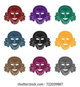 Greek antique mask icon in black style isolated on white background. Greece symbol stock vector illustration.
