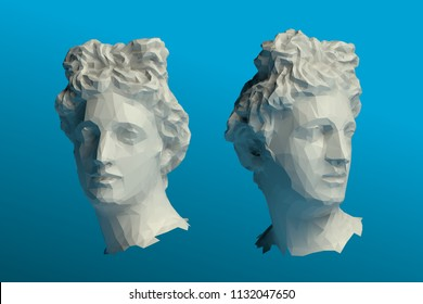 Greek Apollo Head Vector 3D Rendering