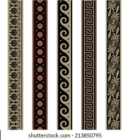 Greek border ornaments. Seamless decoration patterns. Vector file