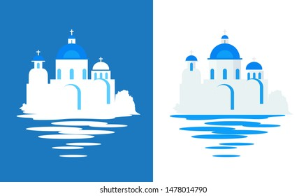 Greek Church with blue domes, Flat vector travel illustration on white and blue background.