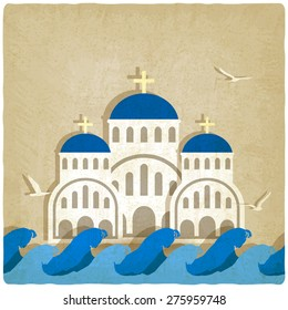 Greek Church near blue sea. vector illustration - eps 10