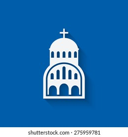 Greek Church symbol on blue background. vector illustration - eps 10