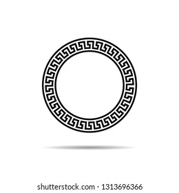 greek circle frame with seamless meander pattern vector