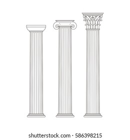 Greek classical columns. Doric style, Ionian Corinthian. Technical drawing. On white background