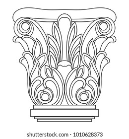 The Greek column in the Corinthian order. Architectural element. Linear pattern of the column.