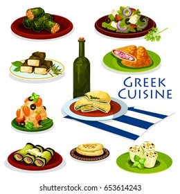 Greek cuisine healthy food cartoon icon. Tomato vegetable salad with feta cheese and olive, meat and spinach pie, pita bread, eggplant roll with meat, seafood rice, cabbage and grape leaf rolls dolma