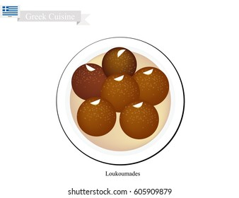 Greek Cuisine, Loukoumades or Traditional Dessert Balls Topping with Syrup and Almond. One of Most Popular Desserts in Greece.