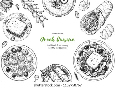 Greek cuisine top view frame. A set of greek dishes with pastitsio, keftedes, dolma, greek salad, gyros  . Food menu design template. Vintage hand drawn sketch vector illustration. Engraved image.