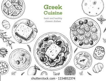Greek cuisine top view frame. Set of greek dishes with greek salad, pastitsio, taramosalata, keftedes, gemista. Food menu design template. Vintage hand drawn sketch vector illustration. Engraved image