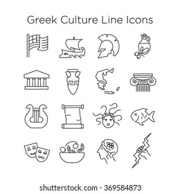 Greek Culture Icons. Historical, Art, Mythological, Food, State Signs of Greece