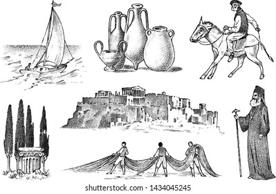 Greek culture. Set of national symbols. Sailboat and priest, jugs and fishing, trees, horse racing and ruins. Hand drawn engraved sketch in vintage style.