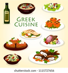Greek dinner icon with healthy mediterranean cuisine food. Vegetable and cheese salad, meat and feta in pita bread gyro, fish soup and cucumber yogurt sauce tzatziki, grilled fish, lamb and cheese