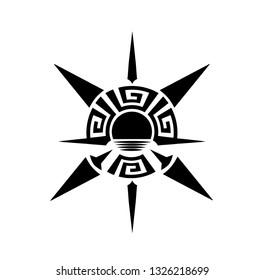 Greek ethnic ornamental compass sundown tattoo symbol