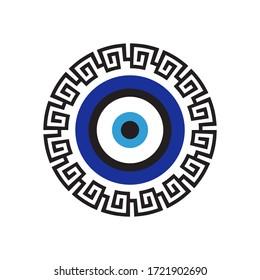 Greek evil eye. Protection symbol. Vector. Greek meander. Folklore talisman. Mediterranean amulet.