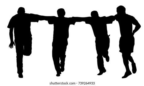 A Greek Evzone dancing group vector silhouette isolated on white background. Traditional wedding dance. Dancing man silhouette vector illustration. Balkan dance kolo. Sirtaki, Syrtaki, Zorba
