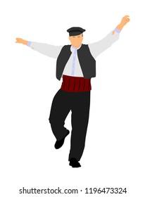 A Greek Evzone dancing vector isolated on white background. Traditional folk dance. Dancing man vector illustration. Traditional Balkan dance folklore kolo. Sirtaki, Syrtaki, dance. Wedding dance.