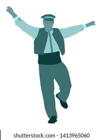 A Greek Evzone dancing vector isolated on white background. Traditional Balkan folk dance. Dancing man vector illustration.  Folklore kolo. Sirtaki, Syrtaki. Wedding dance celebration.
