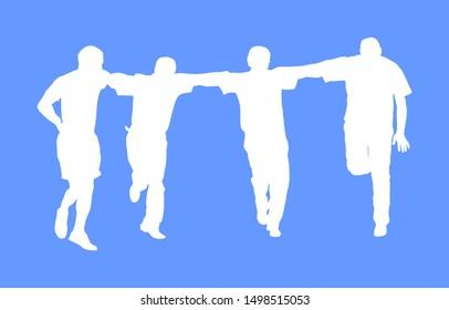 A Greek Evzone dancing vector silhouette isolated on white. Traditional folk dance. Dancer man vector illustration. Traditional Balkan Greece folklore kolo. Sirtaki, syrtaki . Wedding dance ceremony.