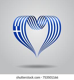 Greek flag heart-shaped wavy ribbon. Vector illustration.