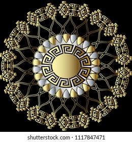 Greek floral 3d round vector mandala pattern. Abstract lace ornamental  background. Tribal style geometric ornaments with rhombus, circles, lines, greek key, meanders. Modern design. Surface texture