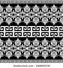 Greek floral meanders seamless border pattern. Vector black and white abstract repeat background. Line art tracery hand drawn flowers, striped leaves. Greek key borders design. Isolated rich ornaments