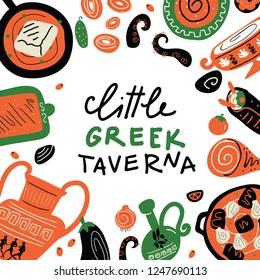 Greek food. Little greek taverna. Vector Illustration of different dishes of Greece. Idea for menu template.