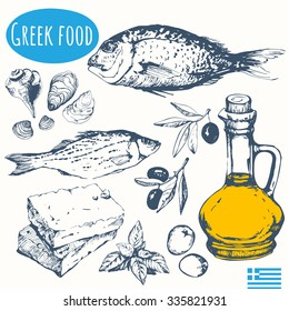 Greek food in the sketch style. Mediterranean traditional products. Vector illustration of ethnic cooking: seafood, olives, cheese. Main course and snacks.