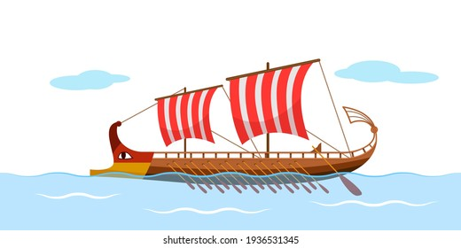 Greek galley with oars, Argonauts, golden fleece. ancient ship with sails at sea. vector illustration