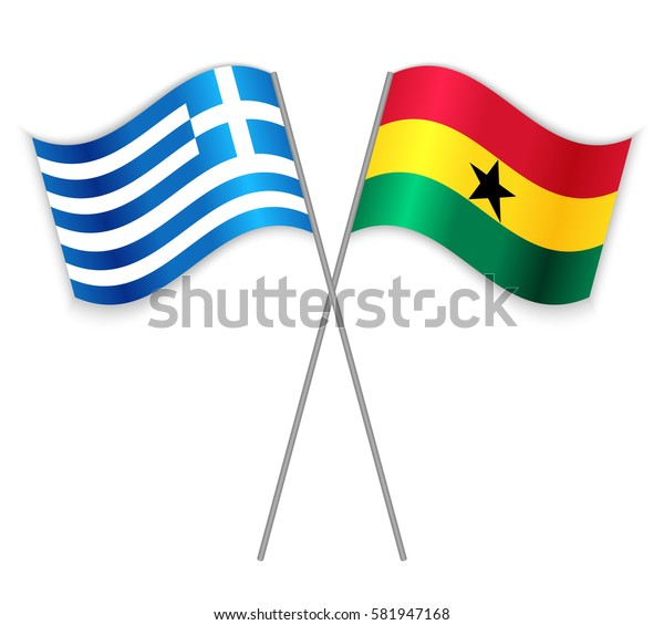 Greek and Ghanaian crossed flags. Greece combined with Ghana isolated on white. Language learning, international business or travel concept.