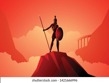 Greek god and goddess vector illustration series, Athena the goddess of wisdom, civilization, warfare, strength, strategy, female arts, crafts, justice and skill.