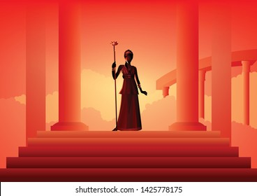 Greek god and goddess vector illustration series, Hera, the wife and one of three sisters of Zeus in the Olympian pantheon of classical Greek Mythology.